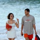 Bella Hadid in Short Dress – Walking on the beach in St. Barts