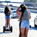Kylie Jenner and friends riding Segway scooters in Calabasas (June 29)