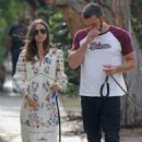 Ana de Armas with Ben Affleck – Wearing long retro summer dress in Venice