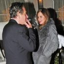 Charles Saatchi and Trinny Woodall were seen getting rather close outside 34 restaurant on Thursday evening