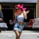 Bella Thornein Mini Jeans Skirt arriving at a studio in LA