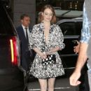 Emma Stone in Black and White Mini Dress – Out in New York City