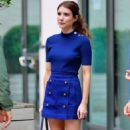 Emma Roberts in royal blue outfit out in New York - 454 x 802