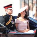 Prince Harry Windsor and Meghan Markle attend the 2018 Trooping the Colour ceremony - 454 x 305