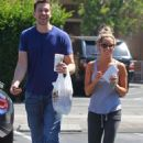 Ashley and Scott Speer getting some to-go mexican food from Sharky's in Toluca Lake (July 17)