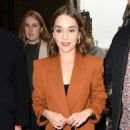 Emilia Clarke in Brown Pantsuit – Arriving back at her hotel in London