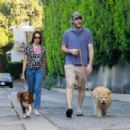 Aubrey Plaza and Jeff Baena take their two dogs for their daily jaunt in Los Feliz