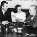 Tim Durant rumoured to be married to Paulette Goddard is seen with her and Charles Chaplin, at the Brown Derby Restaurant - 454 x 352