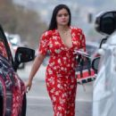 Ariel Winter in Red Dress – Visits a nail salon in Studio City