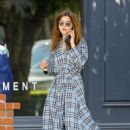 Jenna Louise Coleman in a Plaid Dress – Out in Los Angeles - 454 x 641