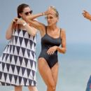 Sarah Jessica Parker in Blue Swimsuit at the beach in the Hamptons - 454 x 681