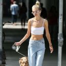 Daphne Groeneveld in White Crop Top and Jeans – Out in New York City - 454 x 681