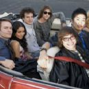 (Back row, left to right) SCOTT PORTER, VANESSA HUDGENS, GAELAN CONNELL, RYAN DONOWHO and (front row, left to right) CHARLIE SAXTON, TIM JO and ALYSON MICHALKA star in BANDSLAM. Photo Credit: Van Redin. © 2008 Summit Entertainment, LLC., and Walden Media, - 454 x 237