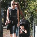 Malin Akerman out for a walk with her son Sebastian and her step mom in Los Feliz, California on December 27, 2013