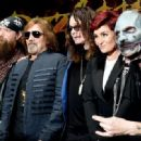 Zakk Wylde, Geezer Butler, singer Ozzy Osbourne, Sharon Osbourne and singer Corey Taylor attend the Ozzy Osbourne and Corey Taylor special announcement at the Hollywood Palladium on May 12, 2016 in Hollywood, California. - 454 x 332