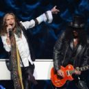 "Slash & Steven Tyler perform at SiriusXM's ""Howard Stern's Birthday Bash"" at Hammerstein Ballroom on January 31, 2014 in NYC"
