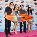 Nina Dobrev and Ian Somerhalder, winners of Choice Fantasy/Sci-Fi Show award, pose in the press room during the 2012 Teen Choice Awards at Gibson Amphitheatre on July 22, 2012 in Universal City, California