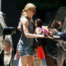 Gwyneth Paltrow In Shorts Picks Up Moses At School In Santa Monica, April 21 2009