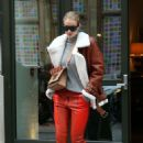 Rosie Huntington Whiteley in Orange Leather Pants – Leaves the Crosby Hotel in NY