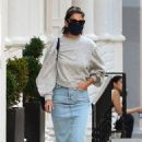 Katie Holmes – In denim skirt out in NYC