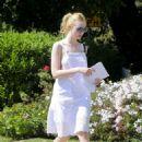 Elle Fanning in White Dress out in LA - 454 x 637