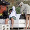 Ronaldo cuts a casual figure in white shirt and green shorts as he enjoys romantic holiday to Spanish island with model girlfriend Celina Locks - 454 x 304