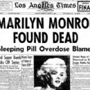 Marilyn Monroe News Paper Announcing Her Death