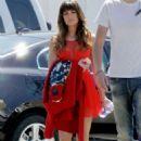 Lea Michele Filming Glee In La