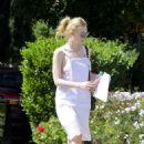 Elle Fanning in White Dress out in LA - 454 x 641