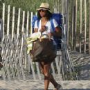 Solange Knowles in Denim Shorts at the Beach in The Hamptons - 454 x 481