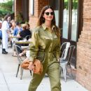 Lily Aldridge in Green Outfit – Out in New York City - 454 x 693