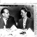 1953 featuring McCarthy Meets Bride -- To -Be on Luncheon Date --- Keeping a luncheon date today at the Carroll Arms near the Capitol, Miss Jean Kerr, 29, talks with Sen. Joseph McCarthy (R-Wide) to whom, she will be a research aide to the 43-year-old red
