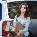 Lily Collins – Seen at the FedEx in Beverly Hills - 454 x 681
