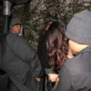 Selena Gomez leaving the Chateau Marmont with Alfredo Flores and friends after attending a Grammys afterparty 02/10/2013