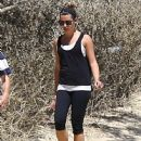Lea Michele enjoys a hike with her parents Marc & Edith at TreePeople Park in Beverly Hills, California on September 2, 2014