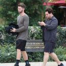Patrick Schwarzenegger out for lunch with a friend at the Bouchon restaurant in Beverly Hills, California on December 17, 2014 - 454 x 531