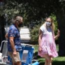 Sophie Turner in Pink Mini Dress and Joe Jonas – Go on a picnic with friends and family in Studio City - 454 x 681