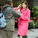 Alexandra Daddario in pink fur coat out in New York - 454 x 681