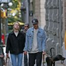 Melissa Benoist and boyfriend Chris Wood walk the dogs in Vancouver