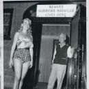 "Much married Tommy Manville, 58, is shown admiring Brooklyn blonde Corrine Daly, 24, at his ""Bon Replse"" estate.  Note the sign over the door.  Manville announced that his ninth wife, the former Anita Frances Roddy-Eden, received a Mexican divorce yesterd"