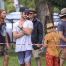 Elsa Pataky, Chris Hemsworth and Matt Damon at a local park in Byron Bay - 454 x 626