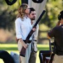 Emily VanCamp: film scenes on a rifle range in Los Angeles