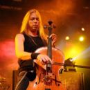 Musicians Eicca Toppinen of Apocalyptica performs onstage at the Nokia Theatre on August 24, 2010 in New York City.