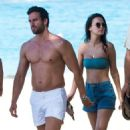 Lucy Watson in Bikini Top and Shorts on the beach in Barbados - 454 x 512