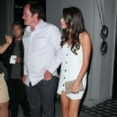 Daniela Pick in White Mini Dress and Quentin Tarantino at Craig's in West Hollywood