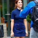 Emma Roberts in royal blue outfit out in New York - 454 x 853