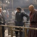 (L-R) Director CHRISTOPHER NOLAN, CHRISTIAN BALE as Bruce Wayne and KEN WATANABE as Raos al Ghul on the set of Warner Bros. Pictures action adventure Batman Begins.