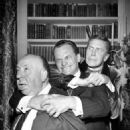 Vincent Price, James Gregory, and Alfred Hitchcock