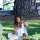 Minka Kelly takes her dog Fred to the park in Beverly Hills - 454 x 527