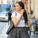 Famke Janssen in Mini Skirt – Out in SoHo